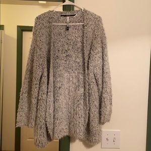 Kensie fluffy black & white cardigan sweater